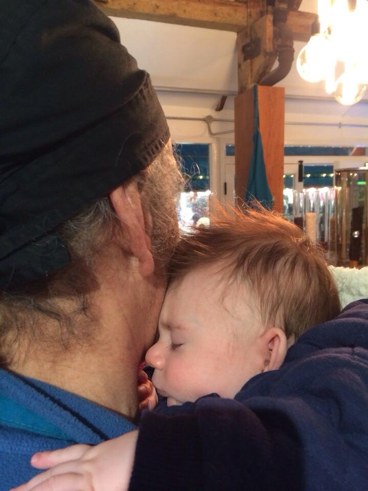 Our youngest customer popped in today but only for sleepy cuddles with his Grandad!