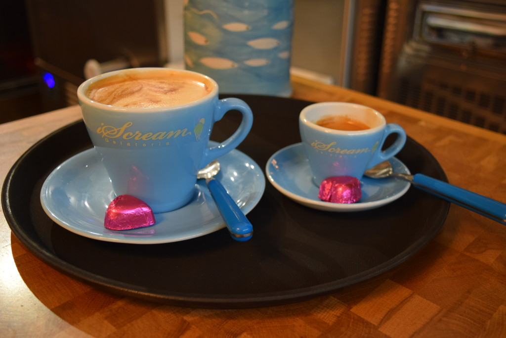 Gourmet coffee with a heart shaped chocolate