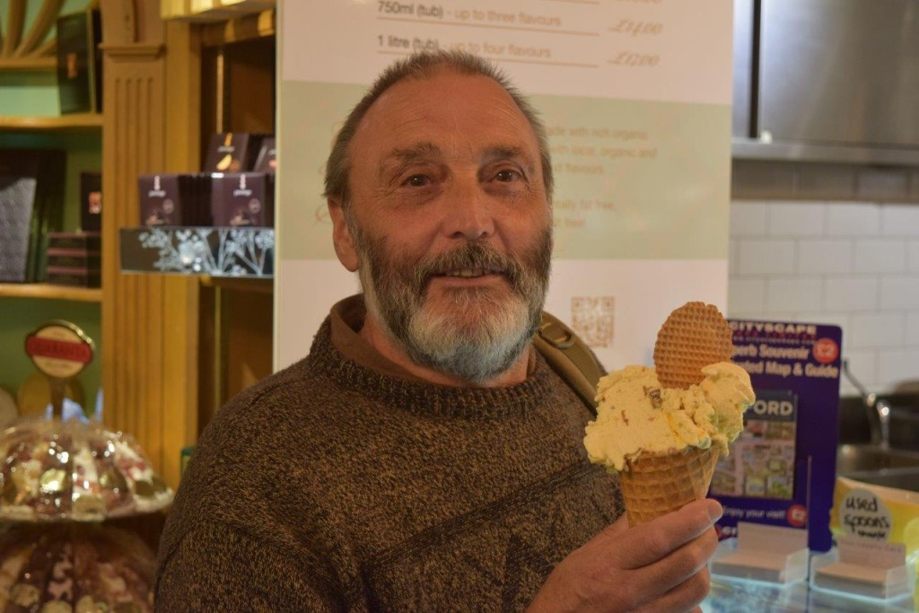 One of our regulars with his favourite Rum and Raisin gelato