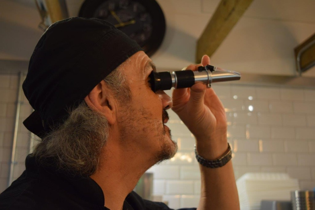 I see no ships!! Graham using his refractometer to get the sugar levels just right