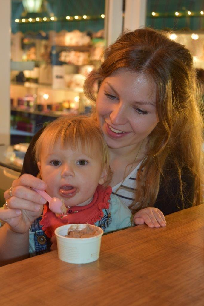 Graham and Jen's Granddaughter Eva enjoying her Mum's Ferrero Rocher gelato!!