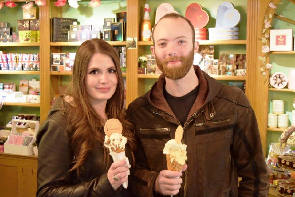 It may have been raining outside but it did't stop this couple from tucking in to their gelatos!