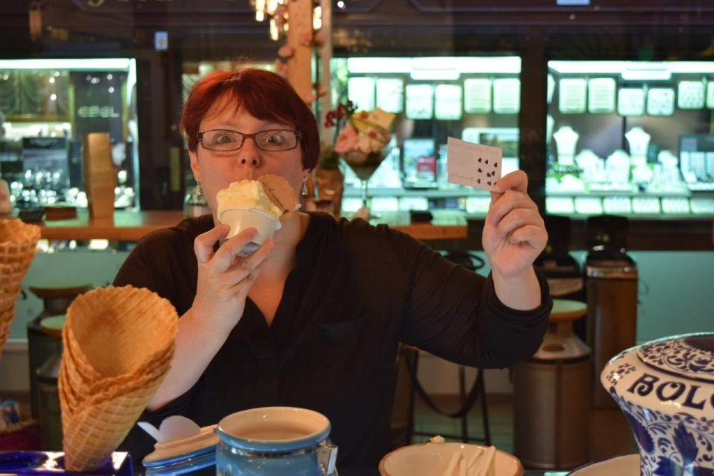 Sabrina from Market Barber having completed her loyalty card enjoys a free gelato