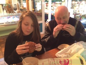 This Father & his Daughter happily tucked into their hot Brioches with Ferrero Rocher gelato