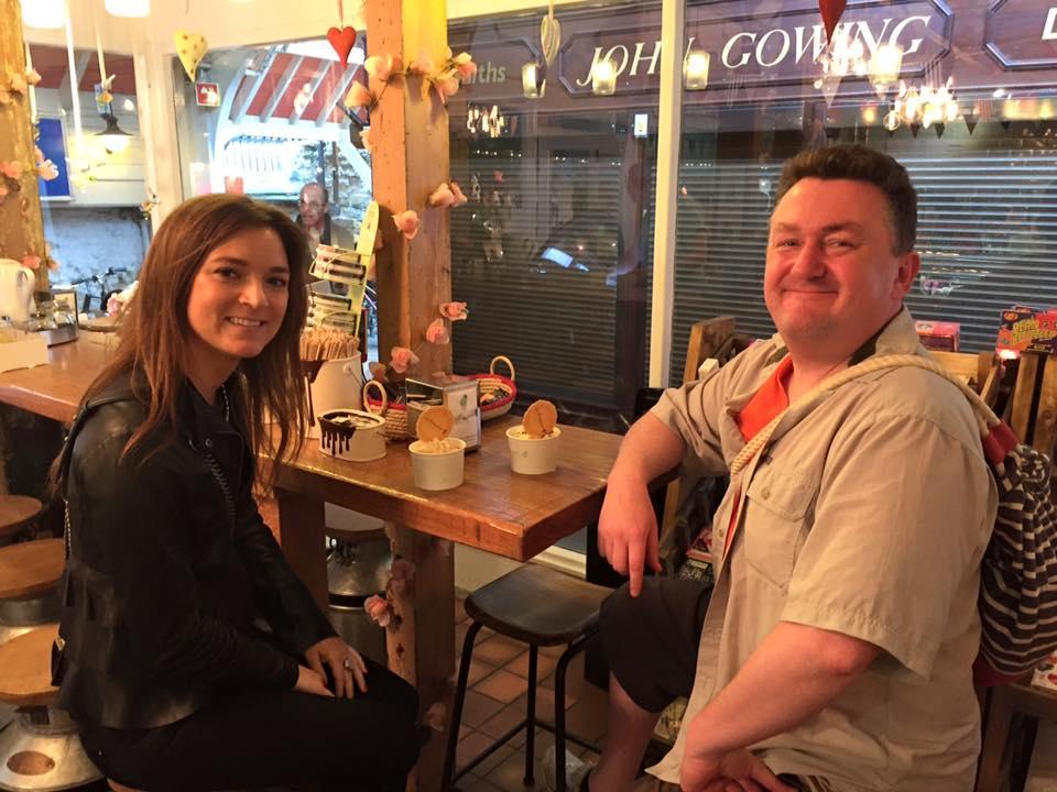 This couple enjoyed their affogatos - a double macchiato shot of coffee over Stracciatella gelato. Delicious!!